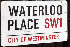 Waterloo-PlatzVerkehrsschild lizenzfreie stockfotografie