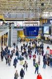 Waterloo Railway Station, London. Commuters inside Waterloo Railway Station in London, UK Stock Photography