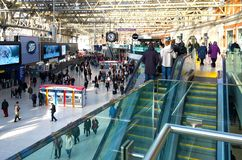 Waterloo Station London departures. A photo showing the departures and arrivals busy at Waterloo railway station in London, England. Also shown is a mezzanine Royalty Free Stock Photo