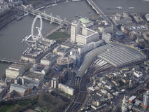 Waterloo Station, London Eye and Thames South Bank from the air Stock Photo