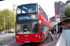 Waterloo station. LONDON - OCTOBER 11TH: London buses at Waterloo station onOctober 11th, 2014 in London, England, uk. Traveling by bus is london cheapest mode Royalty Free Stock Photo