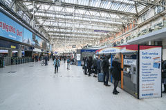 Waterloo Station wide angle view  - London England  UK Royalty Free Stock Photos
