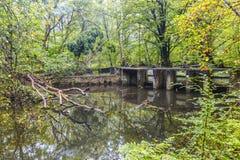 Waterloopbos的实验水利工程设施 库存图片