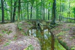 Waterloopbos的实验水利工程设施 免版税库存图片