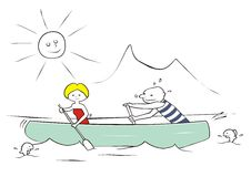 Waterman. Man and woman riding in a canoe. Funny picture Royalty Free Stock Image