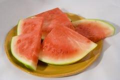 Watermellon platefull. Plate full of Watermellon slices summer food Stock Images