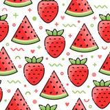 Watermeloen, Aardbei naadloos patroon Royalty-vrije Stock Fotografie