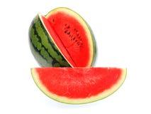 Watermeloen die op witte achtergrond wordt geïsoleerd) Stock Fotografie
