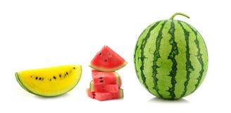 Watermeloen die op witte achtergrond wordt geïsoleerd) Royalty-vrije Stock Afbeeldingen