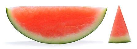 Watermeloen die op witte achtergrond wordt geïsoleerd) Stock Afbeeldingen