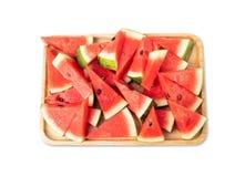 Watermeloen die in stukken wordt gesneden royalty-vrije stock fotografie