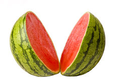 Watermeloen die in Twee wordt gesneden Stock Foto's
