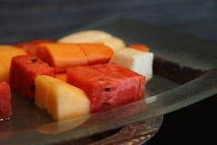 Watermeloen en cantalope op de plaat Thais fruit Royalty-vrije Stock Afbeeldingen