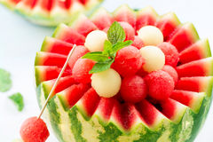 Watermeloen en Meloenballen stock foto's