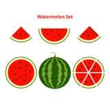 Watermeloen en plakken Stock Afbeeldingen