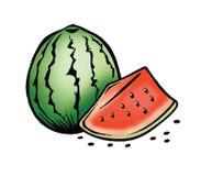 Watermeloen en zaden Royalty-vrije Stock Afbeeldingen