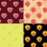 Watermeloen, granaat, dadelpruim, citroen Reeks van Fruit naadloos patroon Stock Foto's