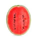 Watermeloen half op wit verticaal wordt geïsoleerd dat royalty-vrije stock foto