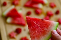 Watermeloen macroschot, veel watermeloen bij achtergrond royalty-vrije stock foto