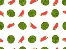 Watermeloen naadloos vectorpatroon Stock Fotografie