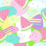 Watermeloen naadloze patronen op kleurrijke achtergrond Stock Foto