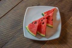 Watermeloen op hout Royalty-vrije Stock Fotografie