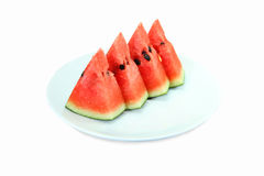 Watermeloen op schijf Stock Foto