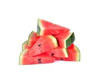 Watermeloen op witte achtergrond wordt gesneden die Royalty-vrije Stock Afbeelding