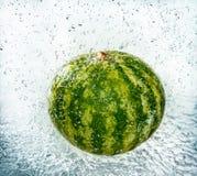 Watermeloen in plonsen van water en dalingen Royalty-vrije Stock Foto's
