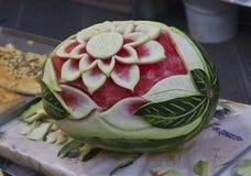 Watermeloen scherpe Kunst: Flower power Royalty-vrije Stock Foto