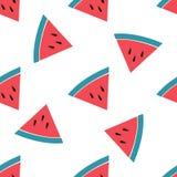 Watermeloen vectorpatroon op witte achtergrond Royalty-vrije Stock Afbeeldingen
