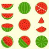 Watermeloen, vlak ontwerp Stock Afbeeldingen