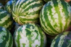 Watermeloenen op marktplaats stock afbeelding