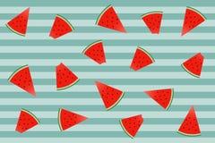 watermeloenenpatroon op groene achtergrond met strepen Het verpakken p royalty-vrije illustratie