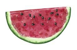 Watermeloenfruit, halve plak, waterverfillustratie royalty-vrije illustratie