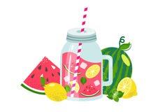 Watermeloenlimonade in glaskruik met plakcitroen, ijs, munt, watermeloen, stro stock illustratie