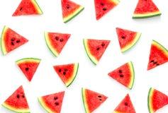 Watermeloenplak op witte achtergrond, Fruitachtergrond wordt geïsoleerd die stock fotografie