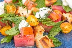 Watermeloentomaat Panzanella Royalty-vrije Stock Foto's
