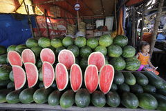 Watermeloenverkoper Royalty-vrije Stock Foto's