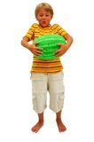 Watermelon. Blond Boy With Green Watermelon Isolated On White Royalty Free Stock Images