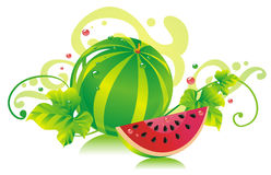 Watermelon. Water-melon with a water-melon slice and water-melon leaves Royalty Free Stock Photography