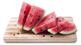 Watermelon. Juicy slices of ripe watermelon isolated on white background stock photo