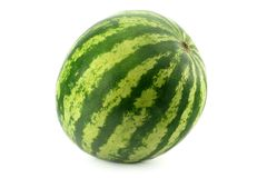 Watermelon. Whole watermelon over white background Royalty Free Stock Images