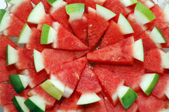 Watermelon. Stack of fresh red slices watermelon Stock Photos