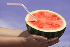 Watermelon. Two hands holding half watermelon Royalty Free Stock Image