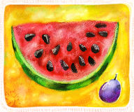 Watermelon. Still life with plum, watermelon. Watercolor and digital art. Decorative composition royalty free illustration