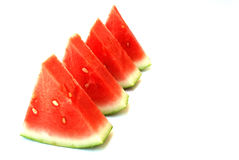Watermelon. (Citrullus lanatus (Thunb.) Matsum & Nakai, family Cucurbitaceae) refers to both fruit and plant of a vine-like (climber and trailer) herb Stock Photos
