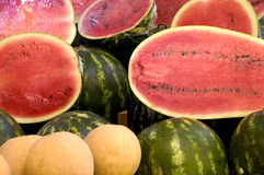 Watermelon. Delicious red melons on a market Stock Photography