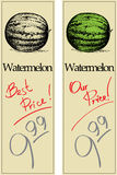 Watermelon. Two Price Tags with Vintage Effect Royalty Free Stock Photos