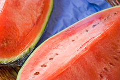 Watermelon. Fresh, watermelon slices covered with plastic wrap at outdoor market Stock Photography